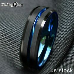 86mm Tungsten Men's Ring Thin Blue Line-Inside Black Brushed Band Jewelry
