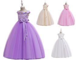 Flower Girl Birthday Wedding Bridesmaid Kids Pageant Formal Gown Dresses ZG9