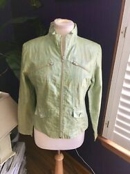 Robert Kitchen Canada Women's Sz Med Zip Up Long Sleeve Jacket Green And Blue $36.00