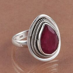 Ruby 925 Solid Sterling Silver Exclusive Ring 6.18g DJR2048 Sz-7