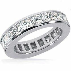 3.81 carat Princess cut Diamond Ring Eternity Gold Band Channel set VS2 clarity