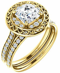 1.28 ct total Asscher & Round Diamond Halo Engagement 14k Yellow Gold Halo Ring