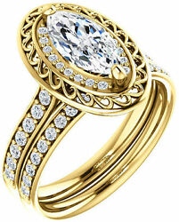 1.31 ct total Marquise & Round cut Diamond Halo Engagement 14k Yellow Gold Ring