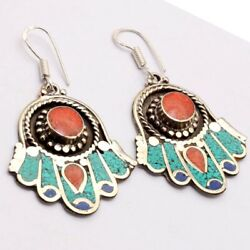 ZG2987 Turquoise Red Coral Lapis 925 Silver Plated Nepali Tribal Earrings 2.7