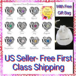 Authentic Pandora SIGNATURE HEART Birthstone Charm S925 ALE with Pandora Pouch $17.99