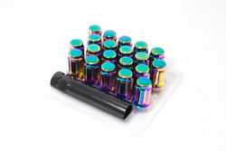 20pc 12x1.5 Neo Chrome spline Lug Nuts   Conical Seating  Closed End