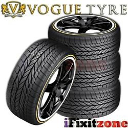 4 Vogue Tyre Custom Built Radial VIII 23555R17 99H White N Gold Wall Tires
