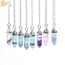 Necklace Pendant Natural Gem Stone Hexagonal Pendulum Healing Chakra Jewelry