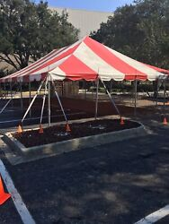 30 x 50 Celina Tent Classic Pole Tent for Wedding Outdoors Event Party red white