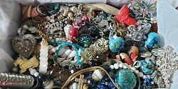 Vintage Mod Jewelry Lot Earrings Necklaces Pins Glass Stone Rhinestone +