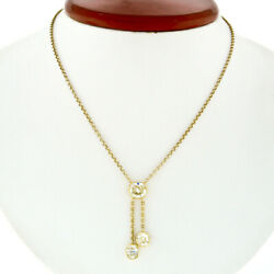 Estate 18K Gold 3.24ctw Bezel Set Cushion Diamond Lariat Tassel Pendant Necklace