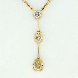 FANCY 18K Gold 3.43ct Bezel Cushion & Round Diamond Long Lariat Pendant Necklace