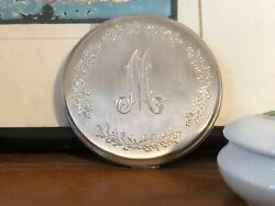 Sterling Silver Compact with Flowers Mirror Monogrammed M Matte Finish