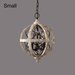 Rustic Small Chandelier Weathered Wooden Globe Metal Crystal Ceiling Light 110V $219.99