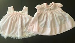 Vtg C.I. Castro & Co Pink 2 Piece Dress with Pinafore Baby Girl 18 Months