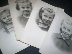 social history 1940's school girl portraits growing up 4 photographs 5.5inch