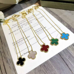 18k Gold plated Silver Onyx Mother-of-pearl Carnelian Flower Clover Necklace