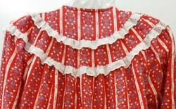 Lanz of Salzburg Womens Nightgown SMALL 100% Cotton Flannel Made USA redwhite