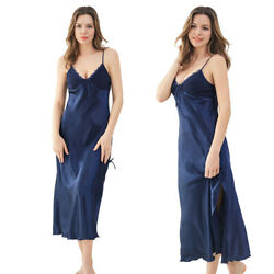 Women#x27;s Long Satin Lace Slip Sexy Blue Nightgown Lingerie Chemise Robes $17.09