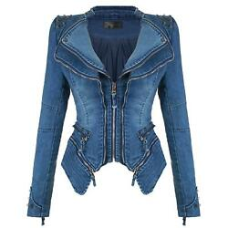 She'sModa Women's Studded Shoulder Denim Jean Jacket Coat Lapel Punk Tuxedo