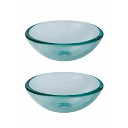 Tempered Glass Vessel Sink with Drain Clear Mini Bowl Sink Set of 2 $146.99