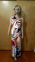 WOMENS LONDON TIMES LONG ONE SHOULDER BEACH DRESS 6 $24.00