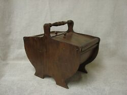 Vintage Wooden Sewing Caddy Curved with Turned Handle
