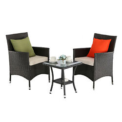HTTH 3 Pieces Patio Bistro Furniture Sets PE Rattan with Cushions Glass Tabletop