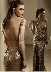 Gold Sequin Gown Size S 2