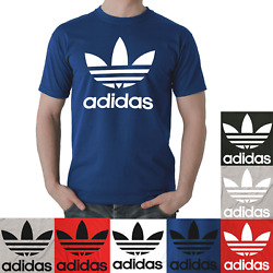 Adidas Men's Short Sleeve Trefoil Logo Graphic Shirt Red Gray Black Blue White