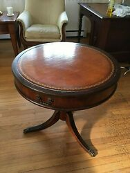 Antique 1939 Imperial Furniture Co. Mahogany Drum End Table wInlaid Leather Top