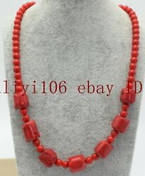 Natural South Sea 6mm Round 12x14mm Barrel Red Coral Gemstone Necklace 18'' AAA