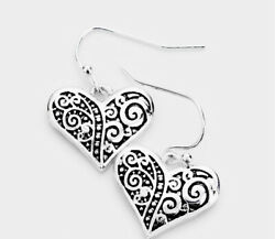Brighton Beach Heart Filigree Metal Dangle Earrings