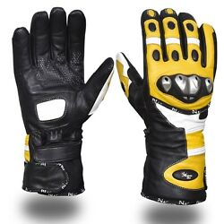 Winter Leather Gloves Motorcycle Motorbike Racing Thermal Yellow Black $21.99