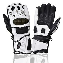 Leather Gloves Motorcycle Motorbike Racing Carbon Knuckle White Winter $21.99