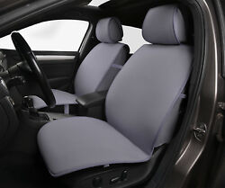 2 Gray Front Car Seat Covers Poly Fabric w Leatherette trim - Universal #80502