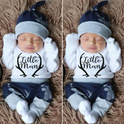 US Newborn Baby Boy Clothes Little Man Romper Tops+Deer Pants+Hat Xmas Outfits