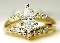 Ladies 14k yellow gold Marques and Round engagement set diamond ring