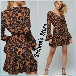 NWT bebe Denise Ruffle Wrap Dress SIZE XS EXOTIC SEXY AND ATTRACTIVE!! $149