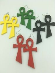Large Wooden Ankh Fish Hook Earrings Assorted Colors