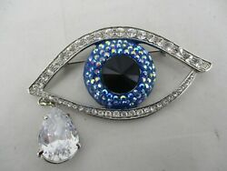 Large Butler & Wilson Evil Eye Crystal Encrusted Brooch