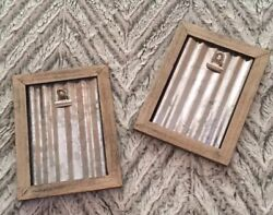 Galvanized Corrugated Industrial Silver Farmhouse Distressed Wooden Photo Frames