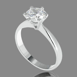 Solitaire 18K White Gold Round Enhanced Diamond Engagement Ring 2.12 CT DSI1
