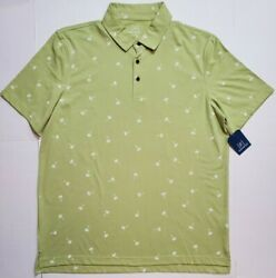 George Mens Honey Palm Tree Jersey Polo SS Work Golf Button Shirt L XL NWT FAST