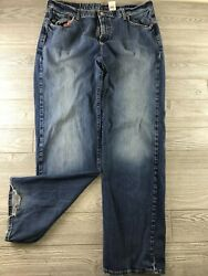 Lucky Brand Dungarees Womens Jeans Rider Fit Relaxed Straight Leg Sz 40 Long