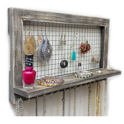 Jewelry Organizer Wooden Wall Mounted Holder For Earrings Necklaces Bracelets