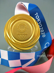 Tokyo 2020 Olympic Gold Medal 1:1 with Silk Ribbons & Display !