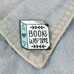 Creative Happy Planner Bookworm Enamel Pin Reading Badge Brooch Gift for Readers