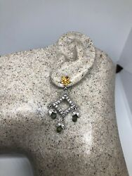 Genuine Citrine Green Amethyst 925 Sterling Silver Vintage Chandelier Earrings $108.00