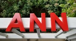 Vintage 3D ANN Name She Shed Advertising Red Cast Aluminum Sign Letters UNIQUE